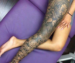 tattoo, leg, and lion image