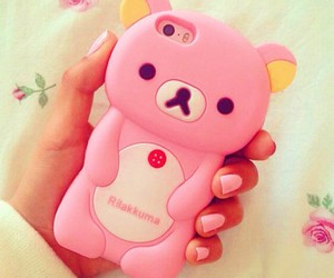 pink, bear, and case image