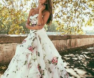 dress, wedding, and flowers image
