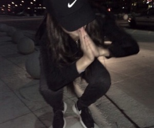 girl, nike, and black image