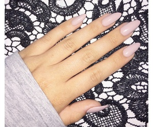 light pink nails, pink almond nails, and pink round nails image