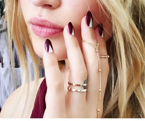 silver rings, straight blonde hair, and light pink lips image