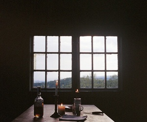 candle, window, and cabin image