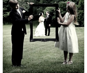 wedding, couple, and frame image