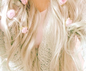 blonde, rosy, and flowers image