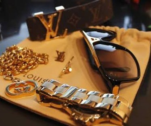 Louis Vuitton, sunglasses, and gold image