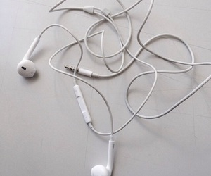 white, aesthetic, and earphones image