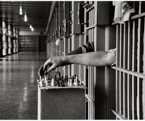 prison, chess, and black and white image
