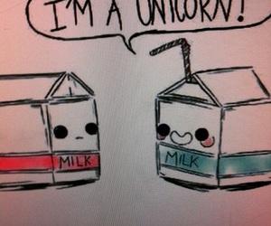 unicorn, milk, and funny image