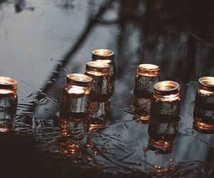 light, candle, and rain image