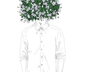 boy, flowers, and art image