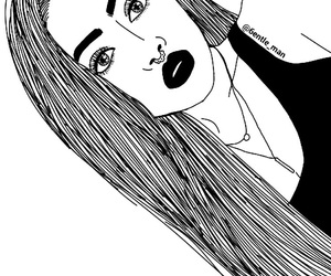 girl, black, and outline image