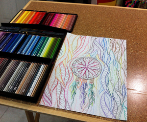art, colors, and desk image