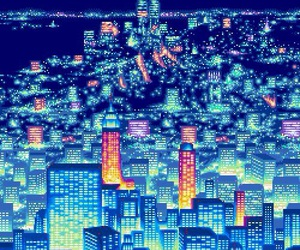 city and pixel image