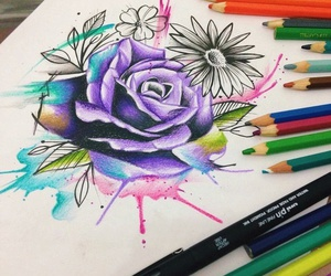watercolor, flower, and purple image