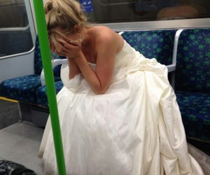 sad, wedding, and bride image