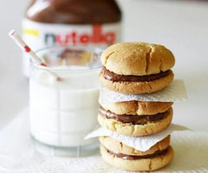 nutella, milk, and food image