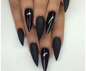 black, rhinestones, and nailjewelry image
