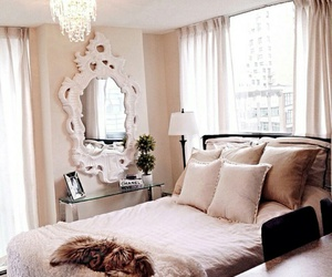 gorgeous bedrooms, white mirrors, and ivory blanket image