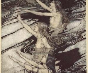 art, mermaid, and arthur rackham image