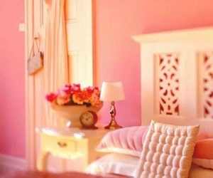 pink, bedroom, and decoration image