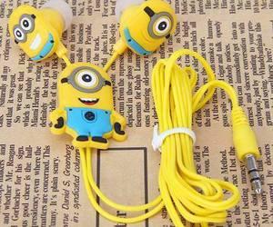 minions, yellow, and headphones image