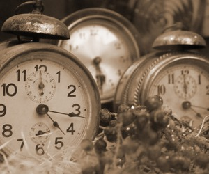 black&white, clocks, and sepia image