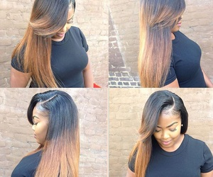 side part, black babe, and black girl image