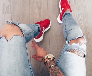 nike, tattoo, and jeans image