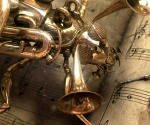 music, notes, and steampunk image