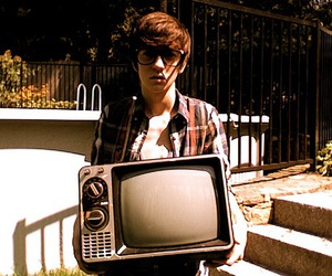boy, tv, and glasses image