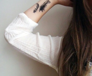 tattoo, feather, and hipster image
