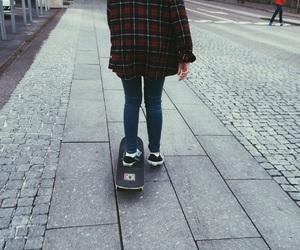flannel, skate, and skateboard image