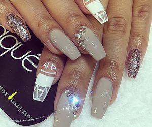 nails, nail jewels, and nail design image