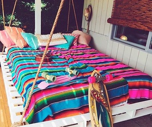 bed, summer, and colors image