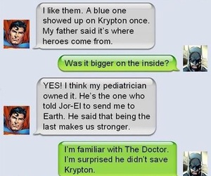 batman, superman, and doctor who image
