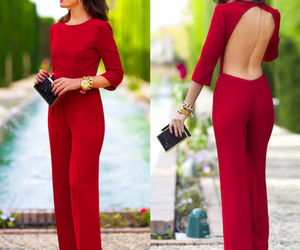 red, fashion, and jumpsuit image
