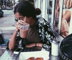 girl, food, and coffee image
