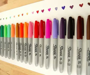 Sharpie, colors, and hearts image