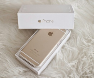 apple, gold, and iphone 6 image
