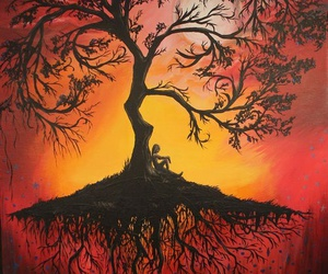 tree, art, and red image