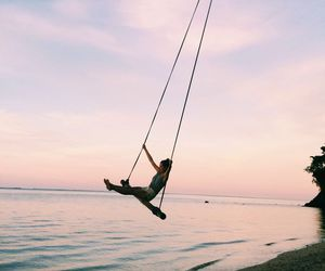 summer, beach, and swing image