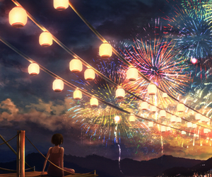fireworks, anime, and beautiful image