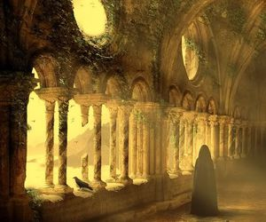 monk and gothic monastery image