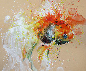 art, fish, and painting image