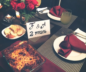 dinner, romantic, and roses image