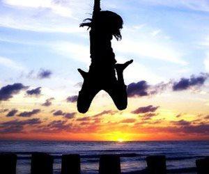 beach, girl, and jump image