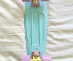 pastels, skateboarding, and pennyboard image