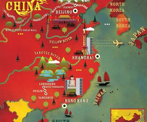 asia, map, and china image