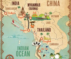 asia, map, and illustration image